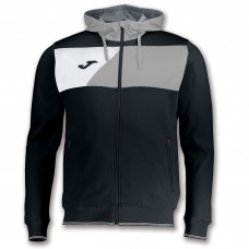 CREW II HOODED FZ POLY JACKET (BLACK-GREY-WHITE)